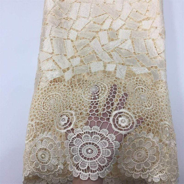 afrilace EMBROIDERED LACE FABRIC GUIPURE GEORGE LACE AFRICAN LACE FABRIC(5 Yards)