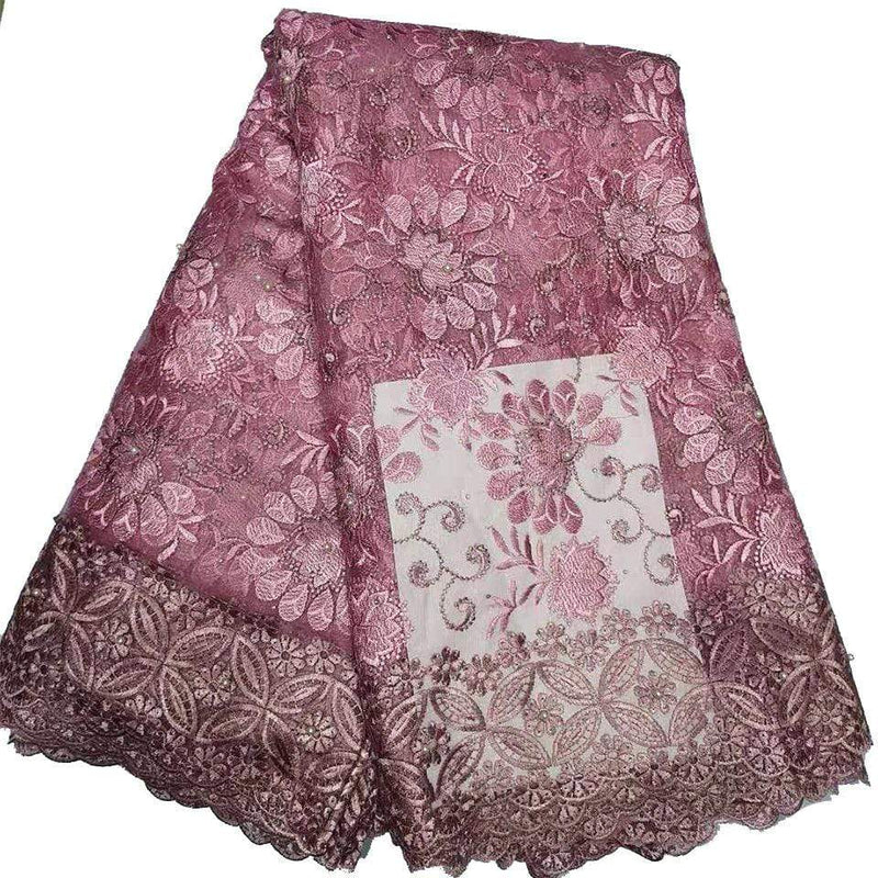 afrilace EMBROIDERY NIGERIAN LACE FRENCH LACE BEAUTIFUL AFRICAN LACE EMBROIDERY FABRIC FOR BRIDAL GOWN(5 Yards)