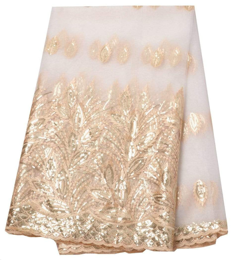 afrilace GOLDEN AFRICAN LACE FABRIC NIGERIAN TULLE LACE FABRIC WITH SEQUINS WEDDING DRESS(5 Yards)