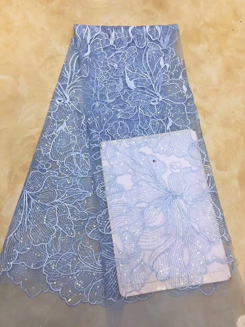 afrilace HIGH QUALITY EMBROIDERY AFRICAN LACE FABRIC TULLE BEADED NET FRENCH LACE SEQUINS MATERIAL NIGERIAN LACE FABRICS(5 Yards)