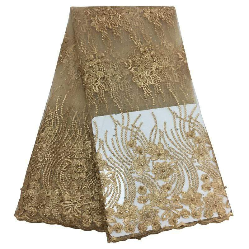 afrilace LACE FABRIC FRENCH LACE FABRIC WITH HIGH QUALITY NIGERIAN FRENCH FABRIC BEADS AFRICAN TULLE LACE FABRIC(5 Yards)