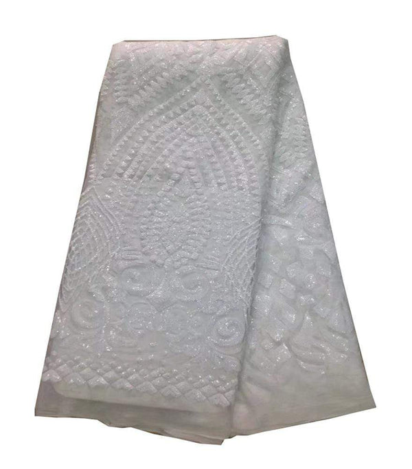 afrilace SEQUINS EMBROIDERED FABRIC BEADED WITH AFRICAN LACE WEDDING DRESS FABRIC(5 Yards)