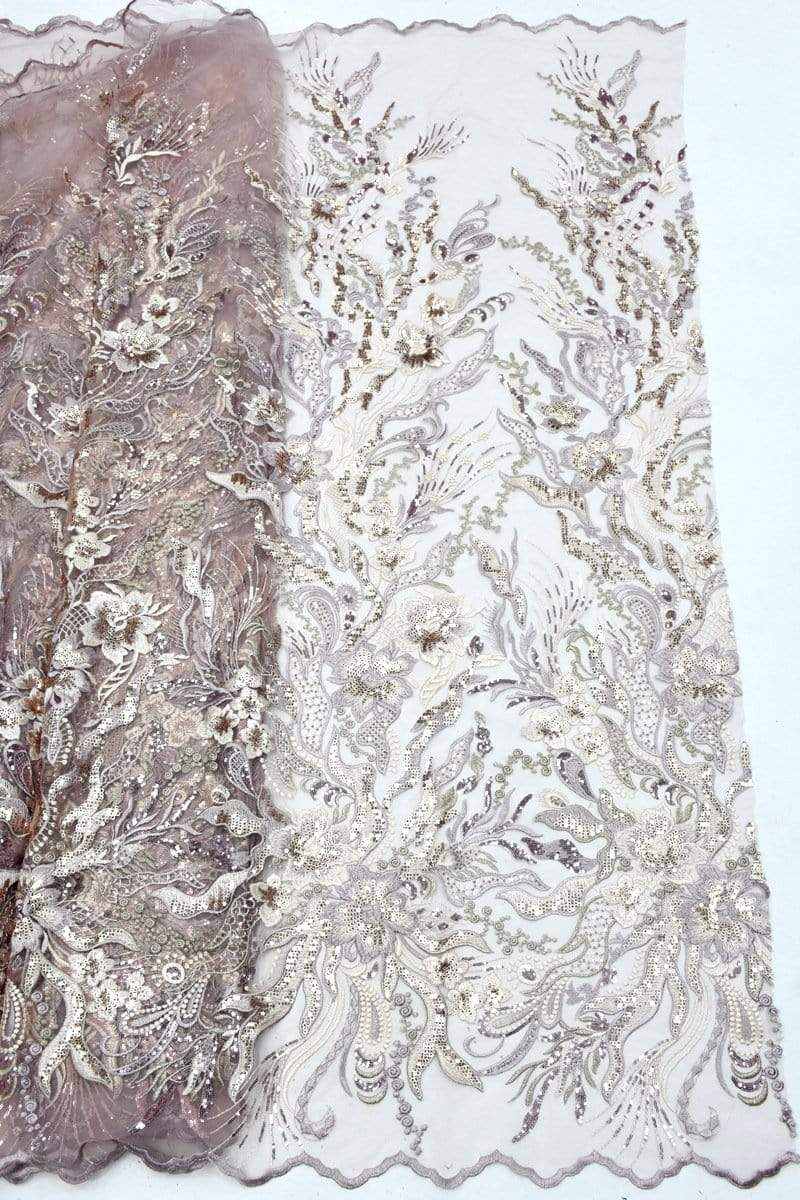 Afrilace SEQUINS LACE FABRIC EMBROIDERED FABRIC MESH EMBROIDERY FABRIC AFRICAN LACE FABRIC(5 Yards)