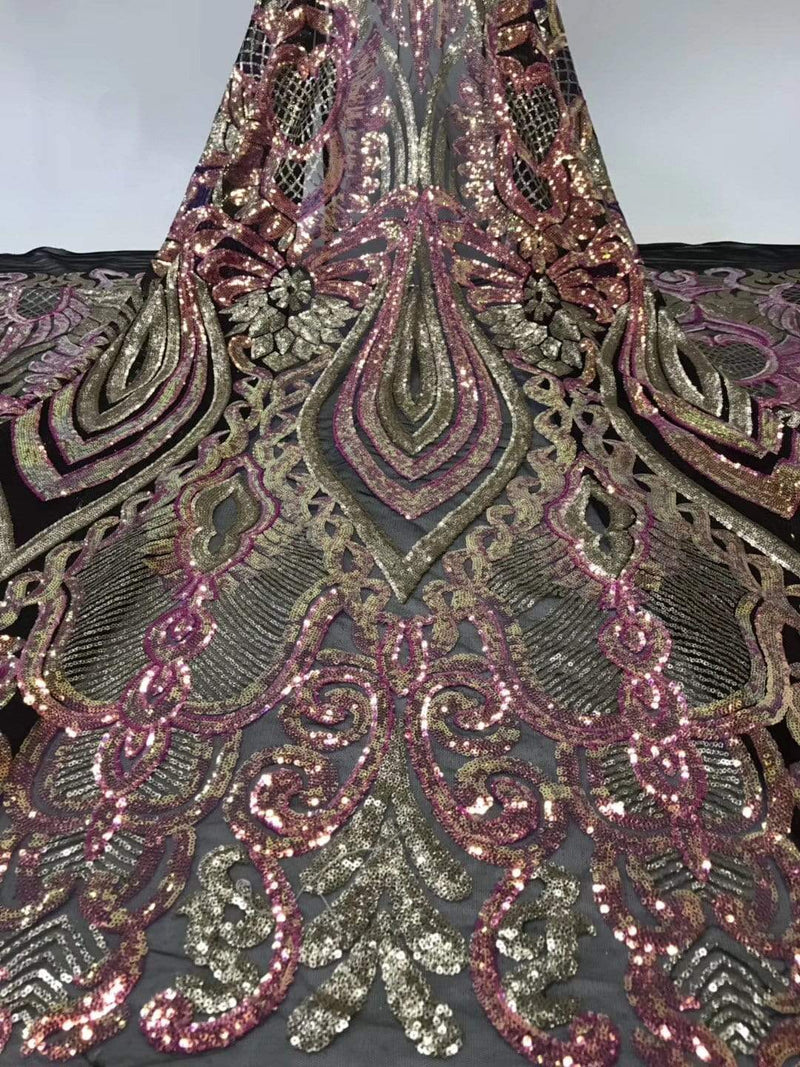 afrilace SEQUINS NET LACE FABRIC HIGH QUALITY NIGERIA EMBROIDERY GUIPURE MESH GOLD SEQUINED LACE(5 Yards)