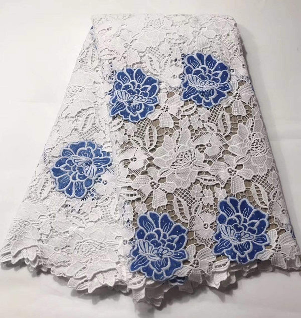 afrilace SWISS LACE EMBROIDERED COTTON LACE FABRIC(5 Yards)