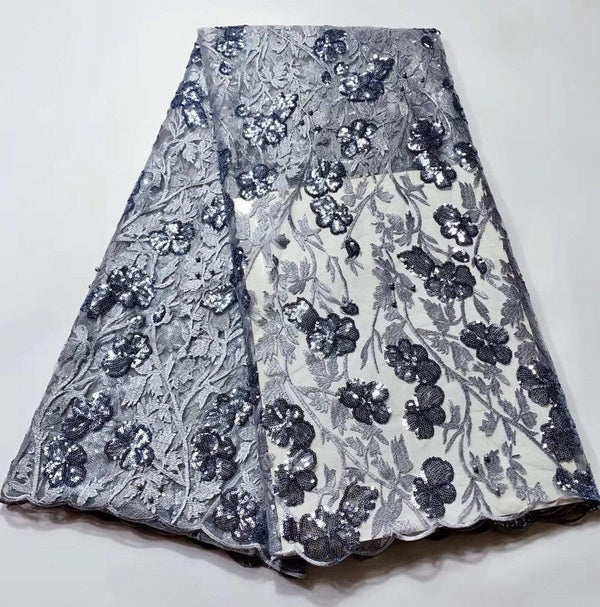 Afrilace SWISS LACE EMBROIDERED SWISS VOILE LACE SEQUINS LACE FABRIC(5 Yards)