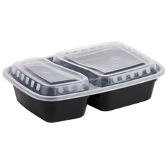 Generic 30oz Rectangular 2-Compartment Plastic Container