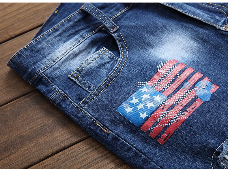 Sokotoo Men's American flag patches design blue denim jeans Holes ripped distressed