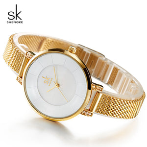 Shengke Luxury Stainless Steel Watches Women Clock Ladies Gold Bracelet Watches