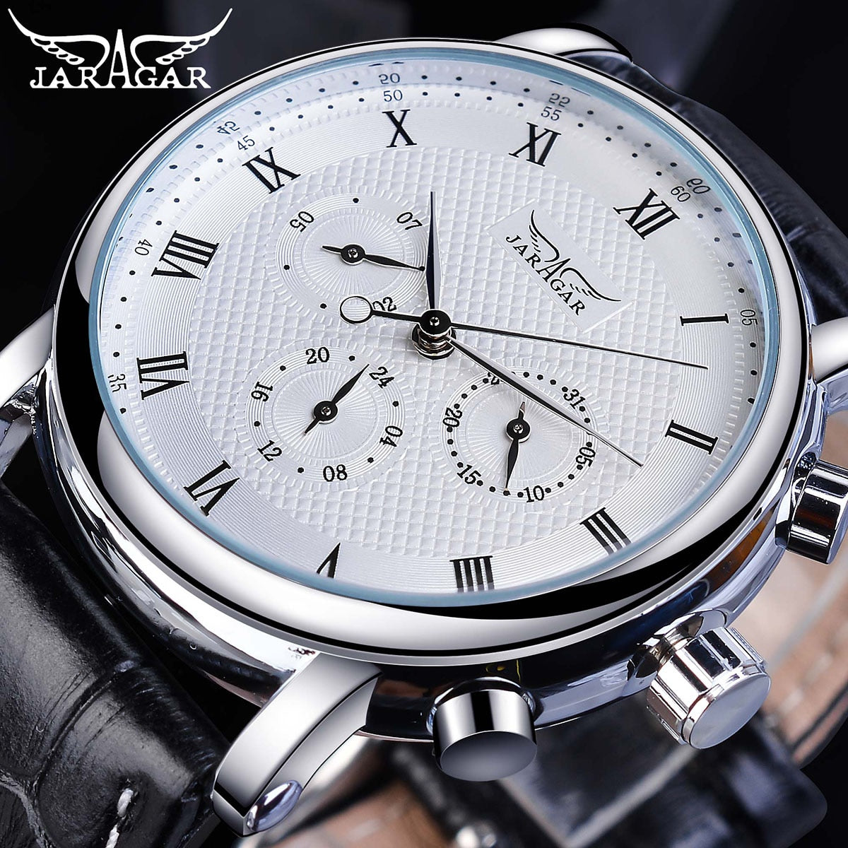 Jaragar Elegant White Men Mechanical Watch Automatic 3 Dial Calendar Business