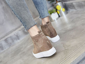 Women's Chunky Sneakers Genuine Leather Hidden Heels Shoes Warm Plush