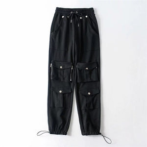 Women Pockets Cargo Pant Jogger With Fitted Cuffs Track Pants