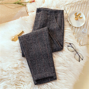 JUJULAND Autumn Winter Woolen Pants Women High Waist Warm Pencil Pants