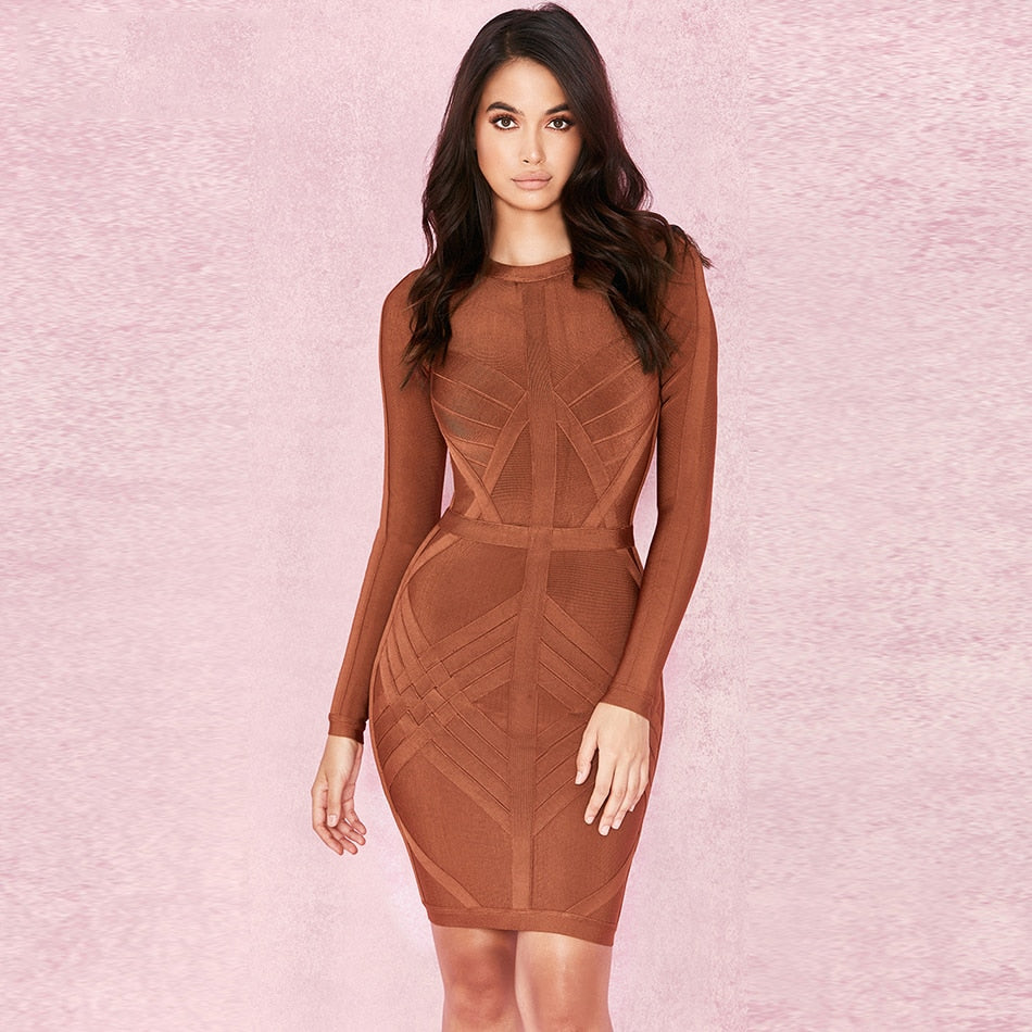 New Arrival Bandage Dress Women Long Sleeve O-Neck Sexy