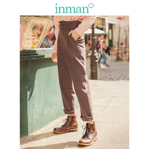 INMAN Winter Literary Retro High Waist with Belt Plaid Loose Thick Women Long Pants