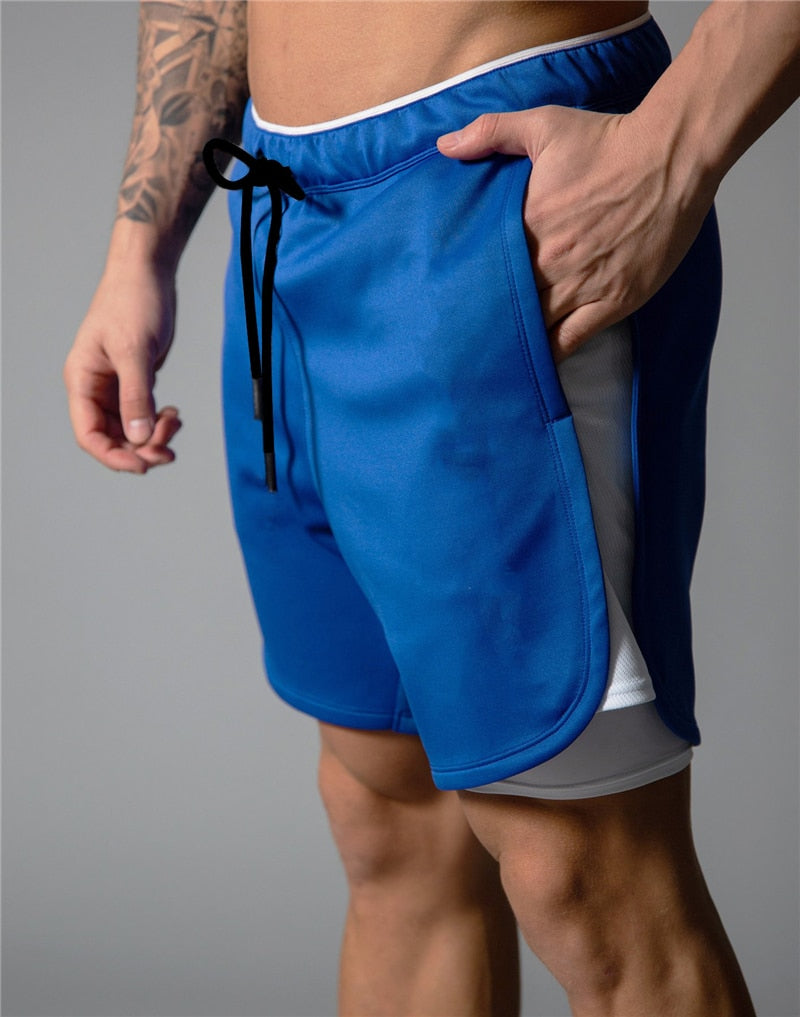 Double-deck Running Shorts Men 2 in 1 Sport Jogging Fitness Shorts