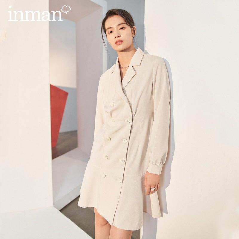 INMAN New Arrival Literary Suit Collar Lantern Sleeve Double Breasted Mermaid Tail Mini Dress