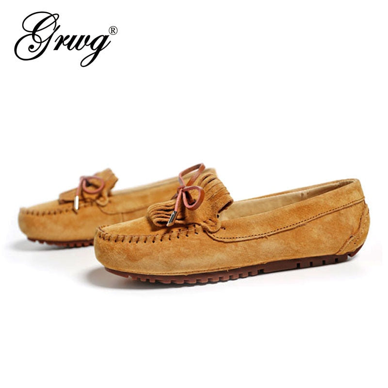 Spring Summer Top brand women Moccasins Shoes Genuine Leather