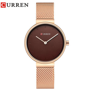 Ladies Dress Mesh Bracelet Watches with Stainless Steel CURREN Simple Fashion