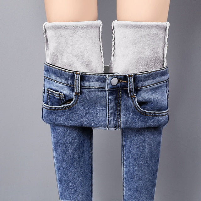 Warm Jeans Pants For Women Plus Size Winter Blue Light blue Solid Skinny Fleeces Thick Pencil Pants