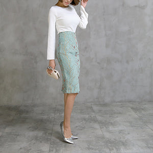 New Fashion Cotton Elegant Long Knee Length Women Skirts Pencil