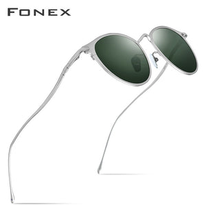 FONEX Pure Titanium Sunglasses Men Vintage Small Round Polarized Sun Glasses