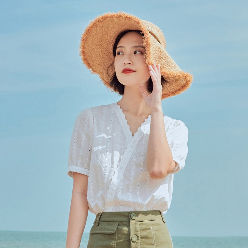 INMAN 2020 Summer New Arrival Fit Style Blouse Artsy Sweet V Neck