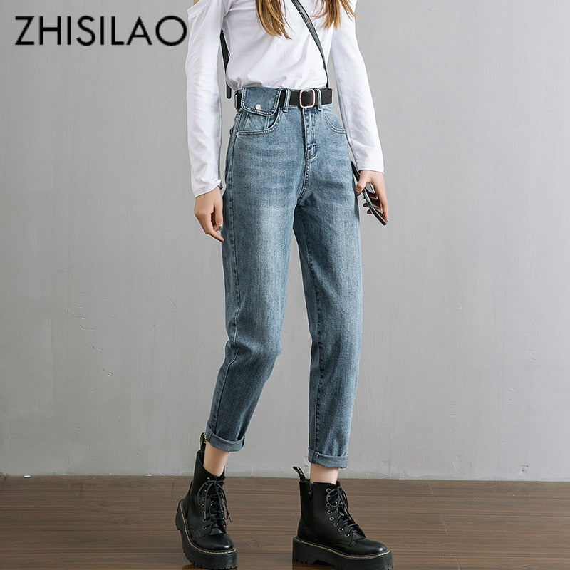 Harem High Waist Jeans Women Vintage Straight Boyfriend Mom Jeans