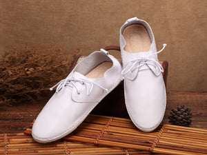 Whensinger - Women Flat Shoes loafers Genuine Leather Casual  Tie Flats Shoe