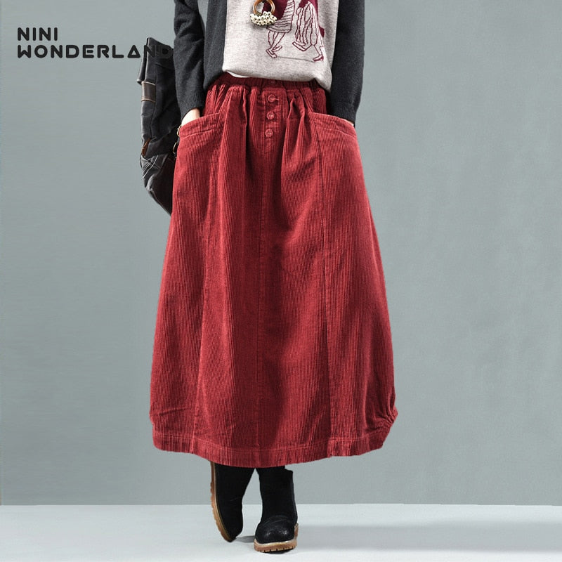 NINI WONDERLAND Autumn Winter Corduroy Skirt Women Vintage Midi Long Skirts