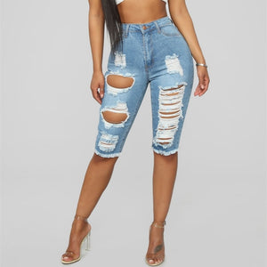 Fashion Knee Length Ripped Hole Denim Shorts Women Casual Push Up Elastic Mid Waist