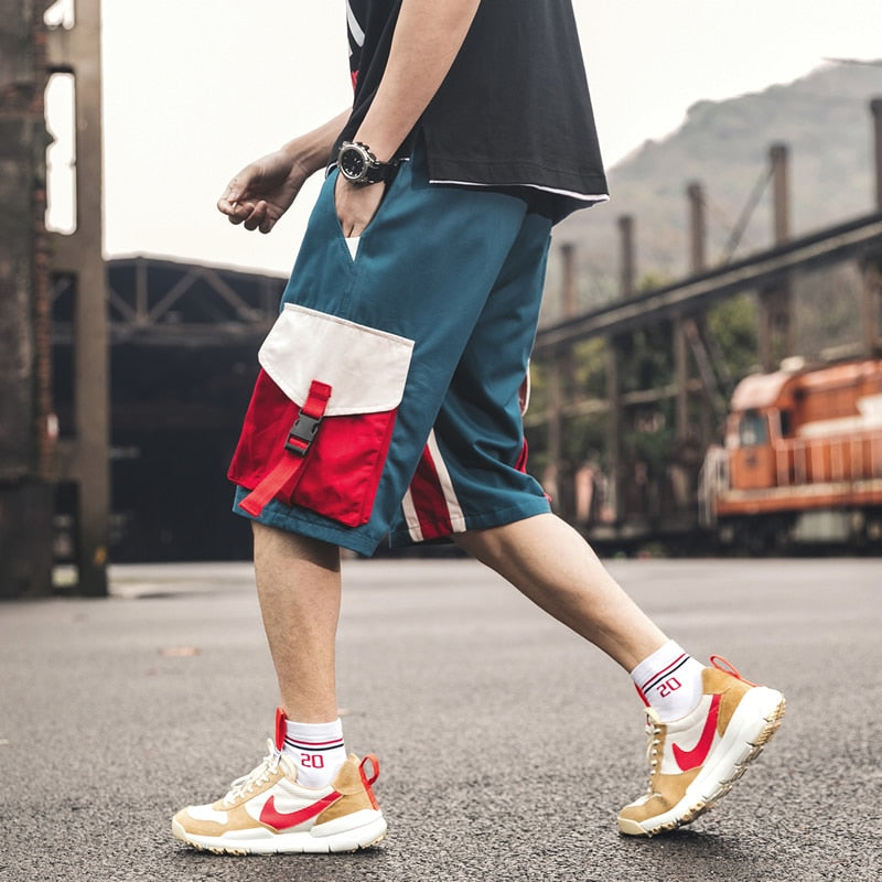 Streetwear Summer Casual Men Shorts Knee-length Pockets Ribbons Cotton Men's Shorts