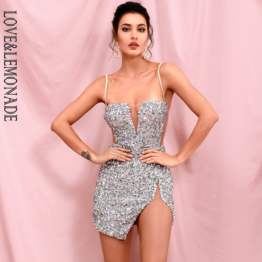 LOVE & LEMONADE Sexy Tube Top Silver Cut Out Stretch Sequin Bodycon Party Mini Dress