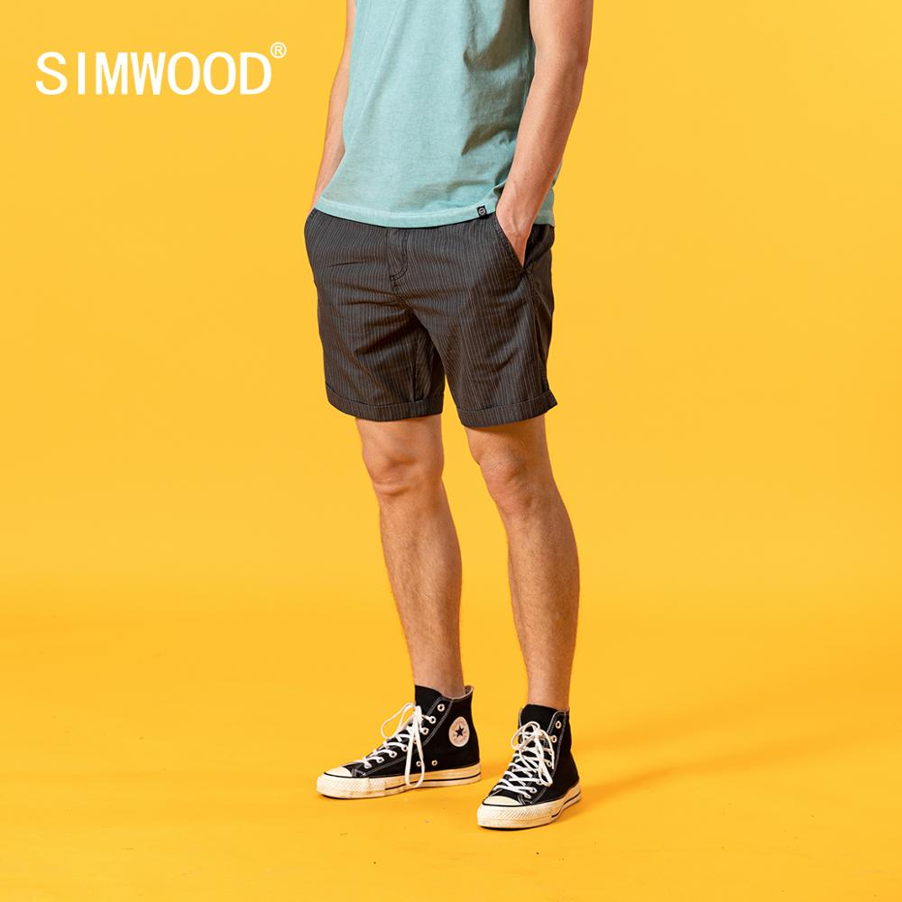 SIMWOODvintage vertical striped shorts men garment dyed casual loose shorts brand clothing SJ170044