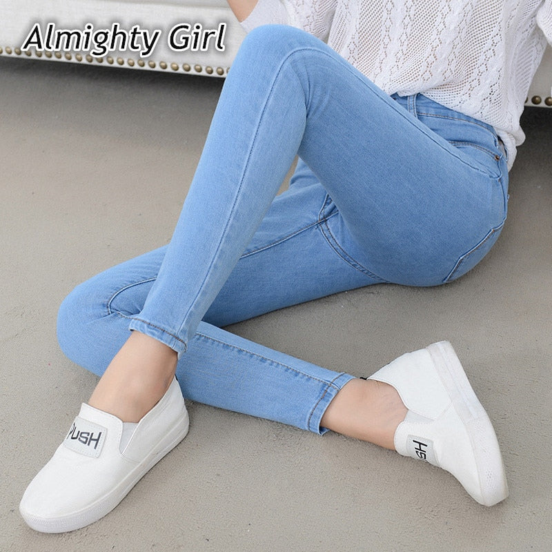Denim Jeans Womens High Waist Stretch Pencil Skinny Ankle-length Pants