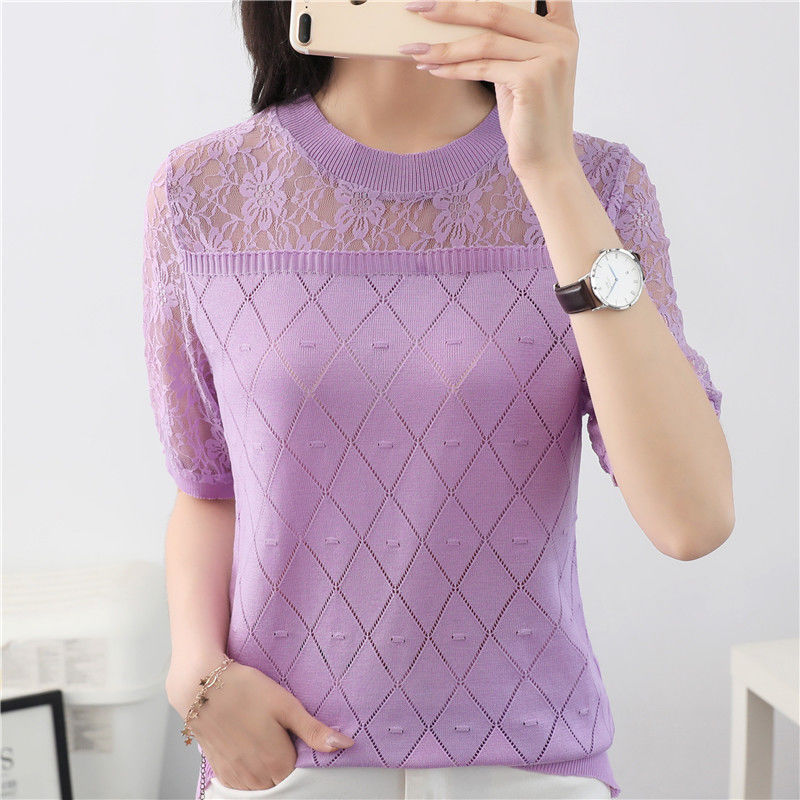 Women Spring Summer Style Knitted Blouses Hollow Out Lace Shirts Lady