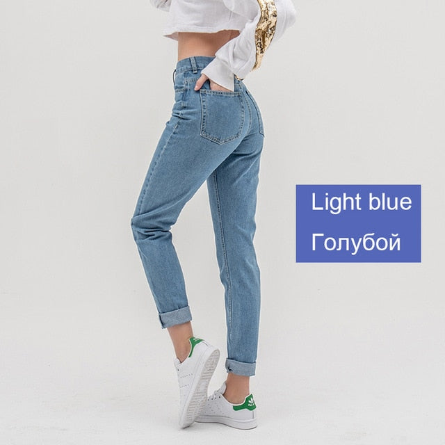 luckinyoyo jean woman mom jeans pants boyfriend jeans for women with high waist push up