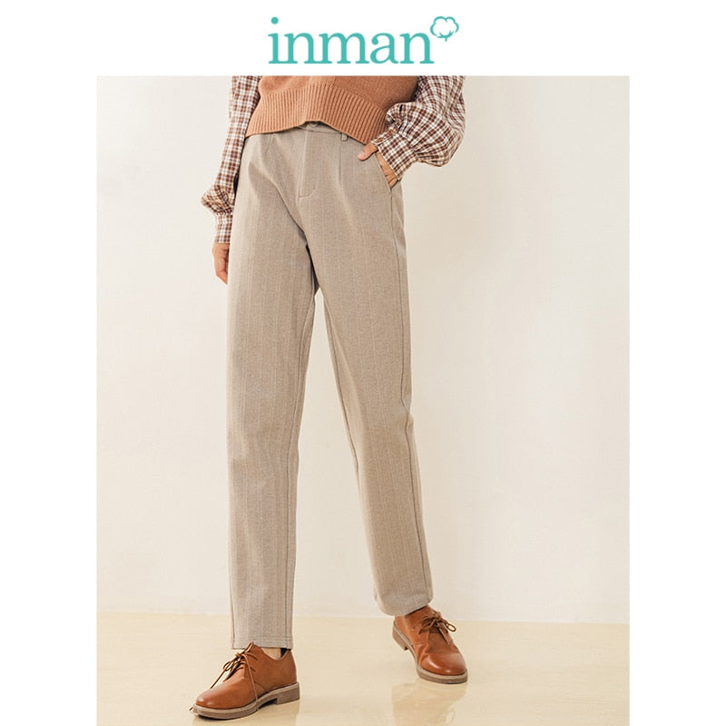 INMAN Winter Literary Retro Half Elastic Striped Apricot Warm Women Long Pants