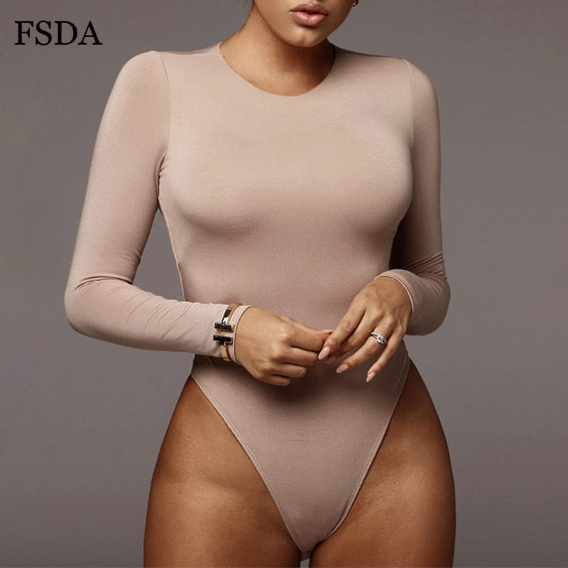 FSDA O Neck Long Sleeve Solid White Sexy Bodysuit