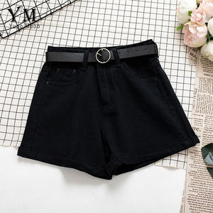 YuooMuoo All Match Sashes Casual Women Denim Shorts Crimping High Waist