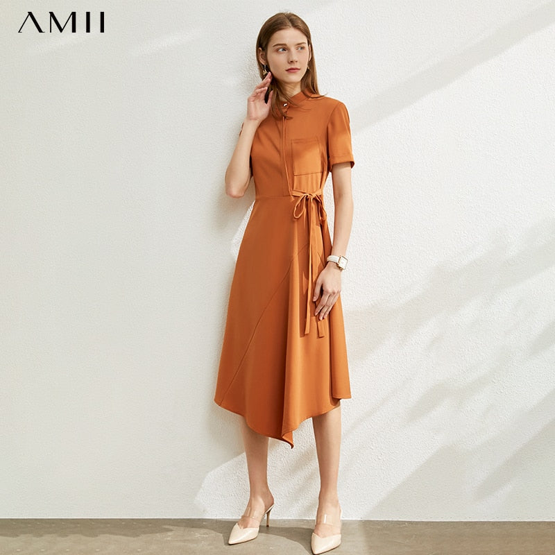 AMII Minimalism Spring Summer Olstyle Solid Oneck Women Dress