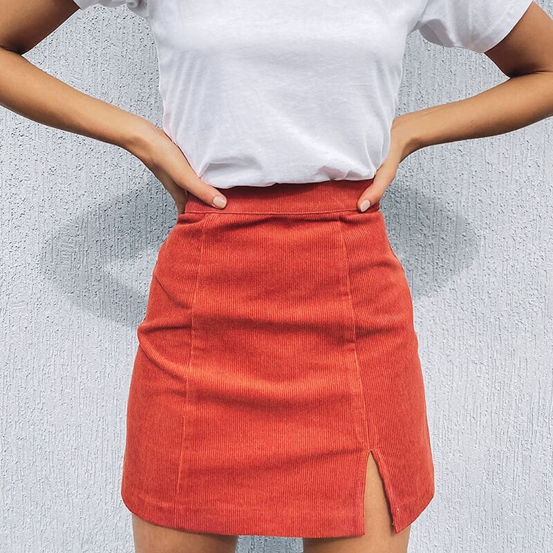 Woman corduroy skirt summer sexy mini Vintage harajuku skirts mini  slit slim high waist