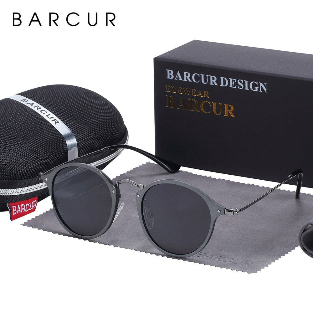 BARCUR Round Sunglasses Women Steampunk Sunglasses Polarized Woman Sunglases Retro