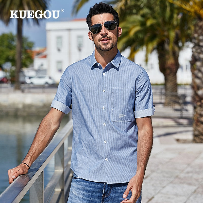 KUEGOU 100% cotton Men's shirt stripe Half sleeve fashion simple comfortable shirts