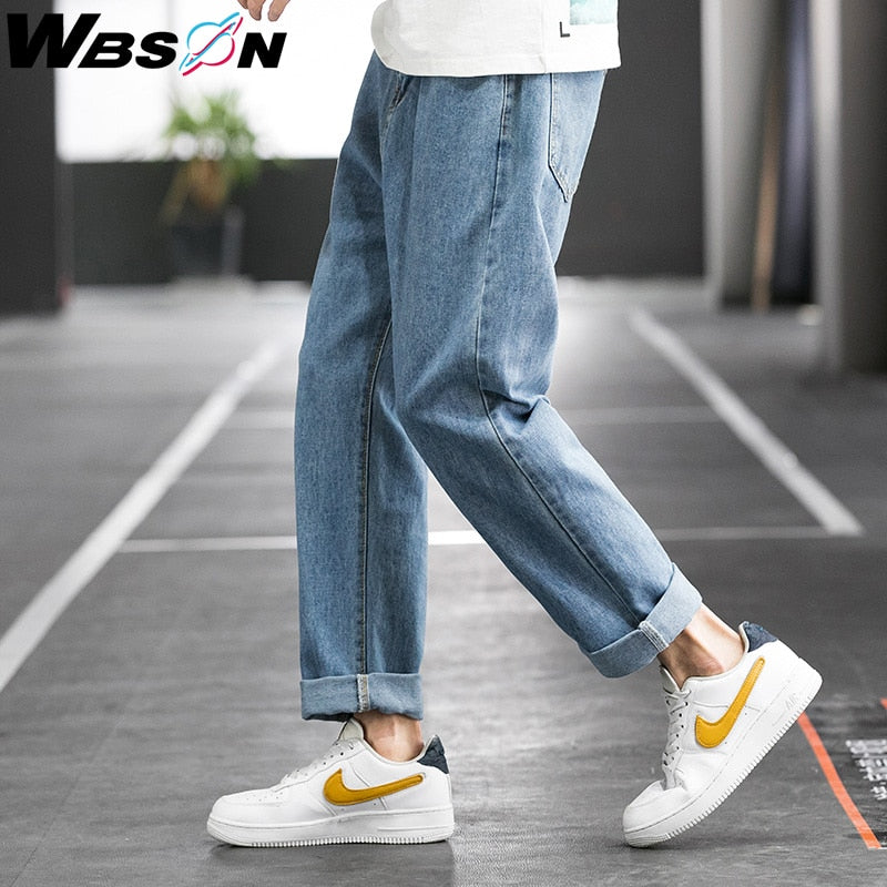 Wbson Men's Casual Classic Retro Jeans Pants Fashion Korean Blue Harem Denim Jeans