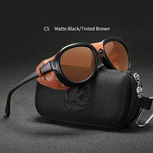 KDEAM Luxury Steampunk Pilot Sunglasses Men and Women Soft Leather Shield