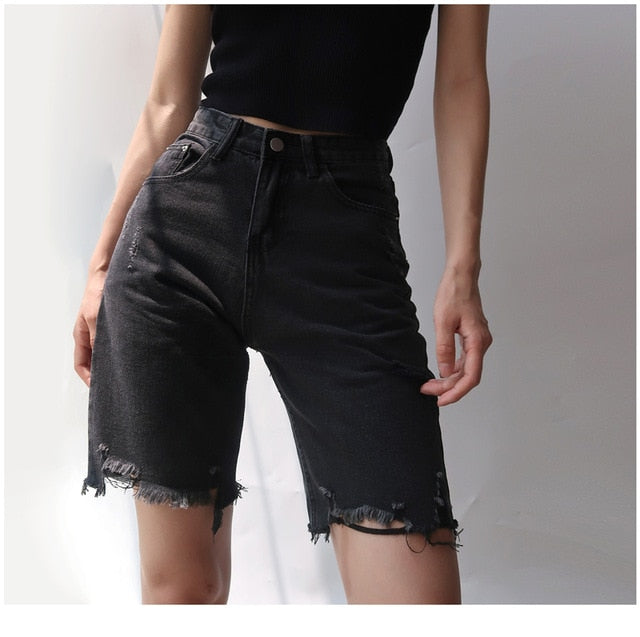 High Waist Hole Slim Cyclist Denim Bermuda Shorts Vintage