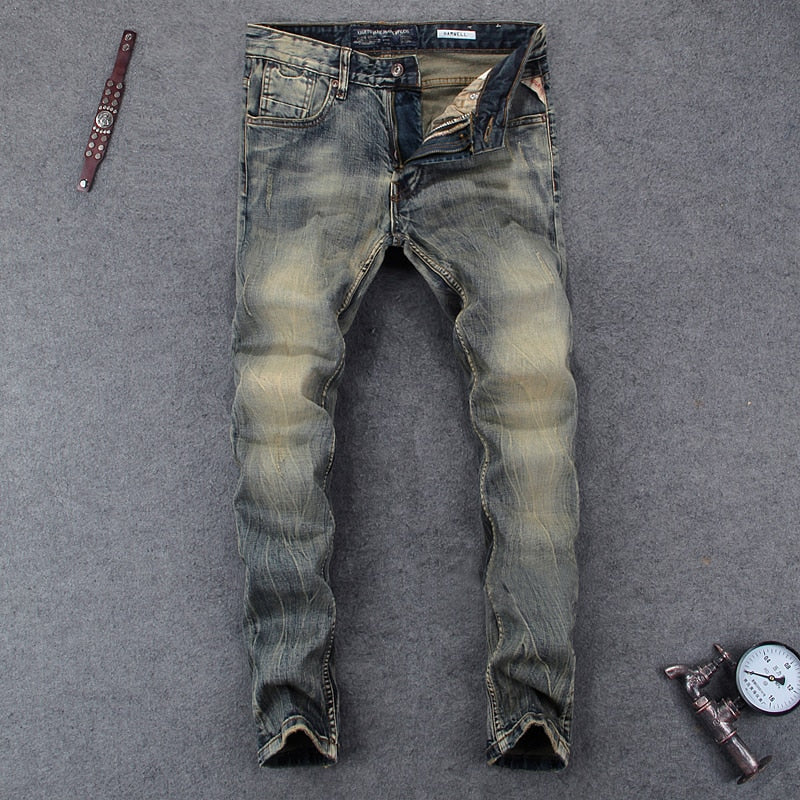 Italian Style Men Jeans Fashion Retro Washed Denim Long Pants
