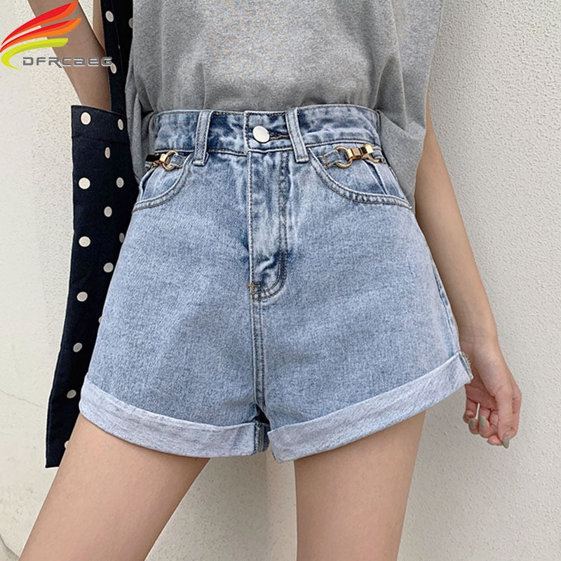 New Women's Denim Shorts With High Waisted Wide Leg Loose Crimping Sky Blue Street Style