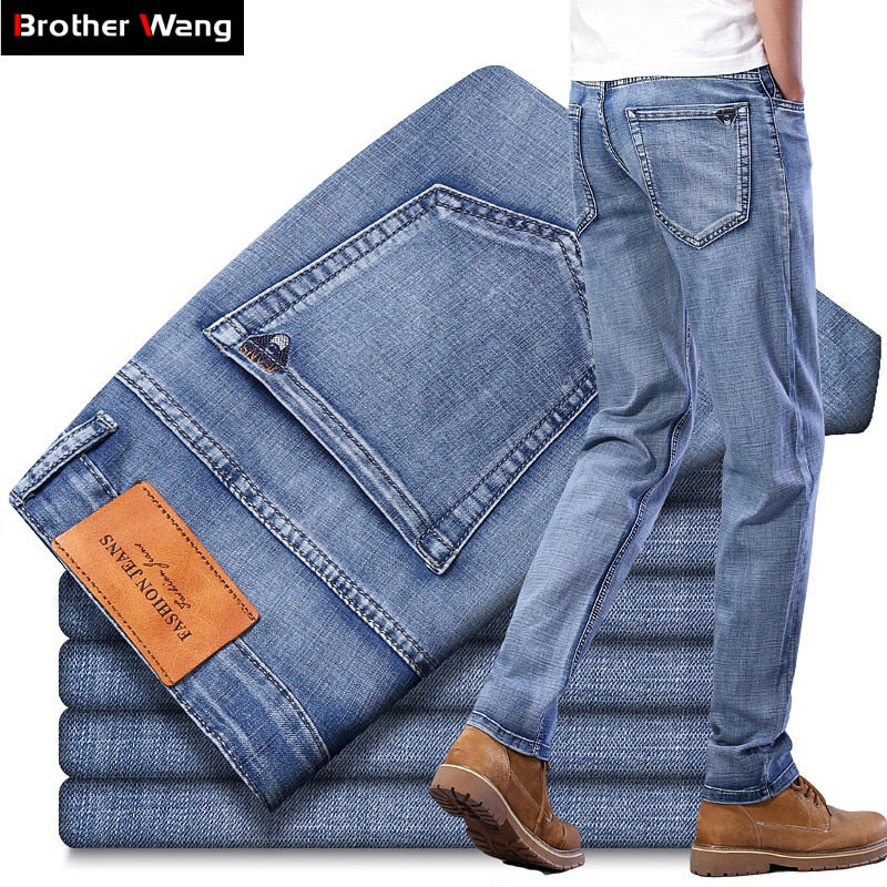 New Men's Light Blue Thin Jeans High Quality Advanced Stretch Regular Fit